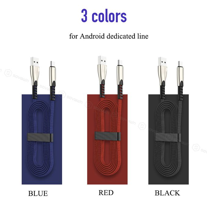 3A Charger Micro USB Cable Data Cables For Android-black | Horezone