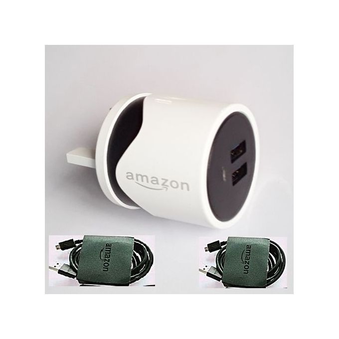 Amazon 2USB Port Amazon Fast Charger Plus 1 Extra Cable