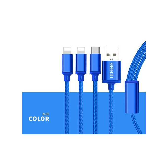 Braided 3In1 Fast Charging Data Cables For IOS/Android-Black | Horezone