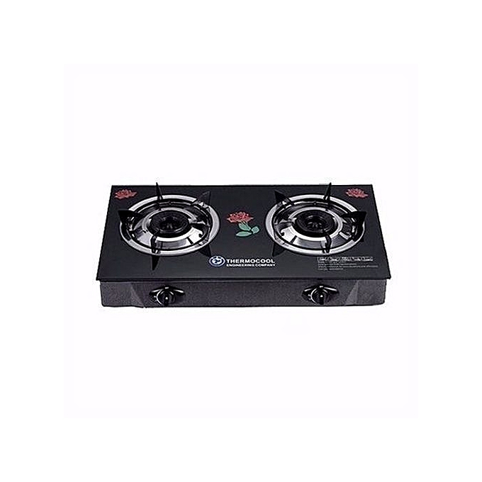 Haier Thermocool 2 Hob Glass Table Top Gas Cooker - Black