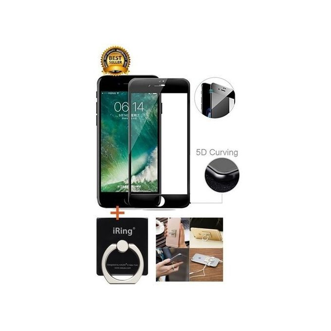 IPhone 6 5D Curved Full Covered Tempered Glass Screen Protector/iPhone 6 5D Screen Guard + IRing Phone Holder