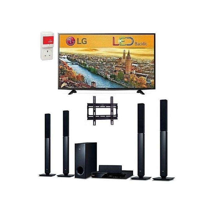 "LG 32"" FULL HD LED televison & Bluetooth DVD Home Theatre With HDMI + Free Wall Mount & Surge"