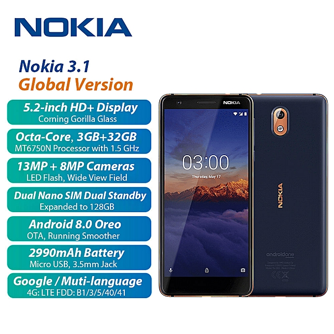 Nokia 3.1 5.2-Inch HD+ (3GB RAM, 32GB ROM) Android 8 Oreo, (13MP + 8MP) Dual SIM 4G LTE Smartphone - Blue | Horezone