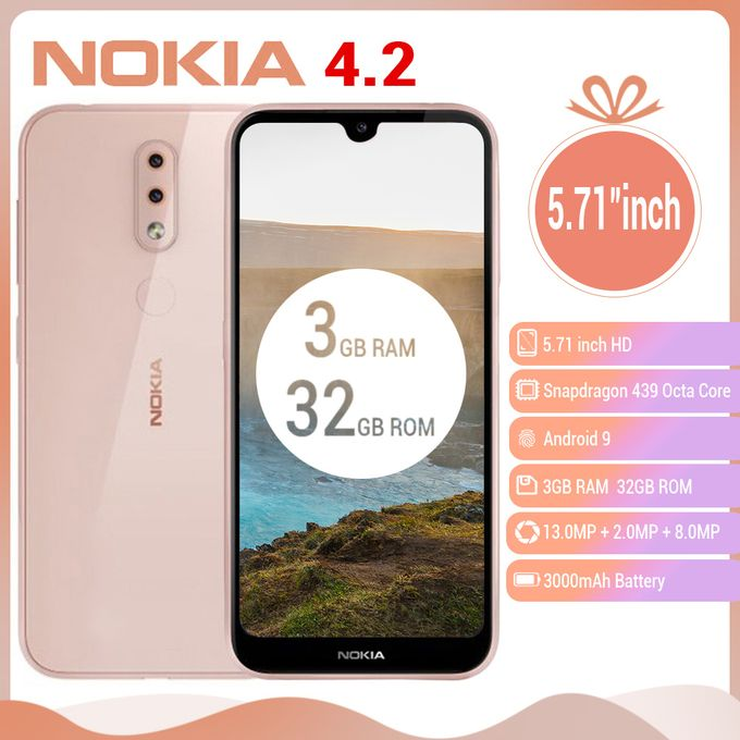 "Nokia 4.2, 5.71"" Inches (3GB RAM 32GB ROM), Android 9.0, (13MP+2MP)+ 8MP 3000mAh 4G LTE Smartphone - Pink"