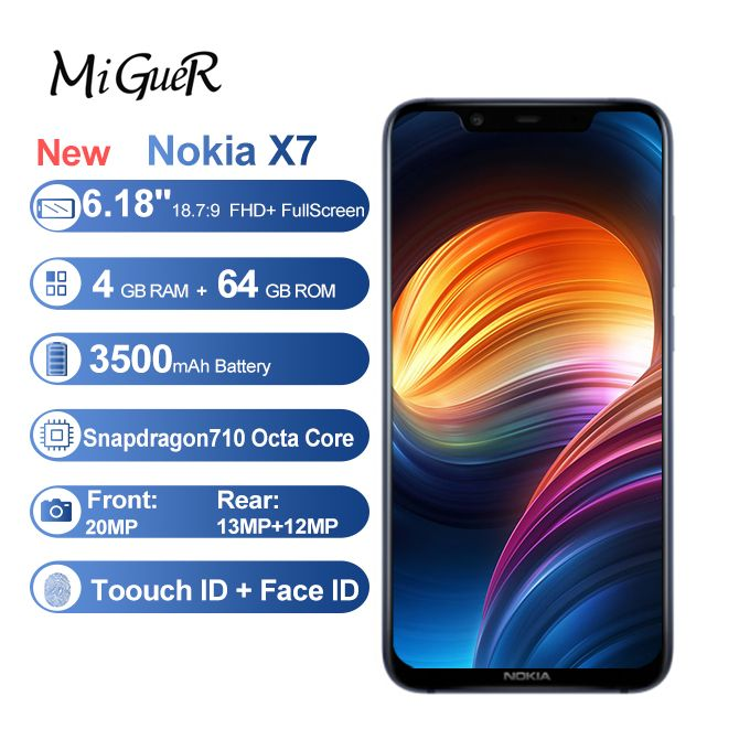 Nokia X7( 7.1 PLUS) 6.18 Inch FHD+(46+64)Android 8.1 Octa Core 3500MAH Snapdragon 710 4G LTE Smartphone - BLUE
