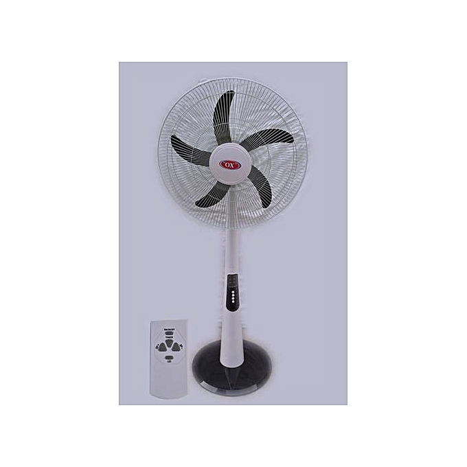 Ox 18Inch Rechargeable Standing Fan + Extra 6volt 4.5Ah Pull-out Rechargeable Battery