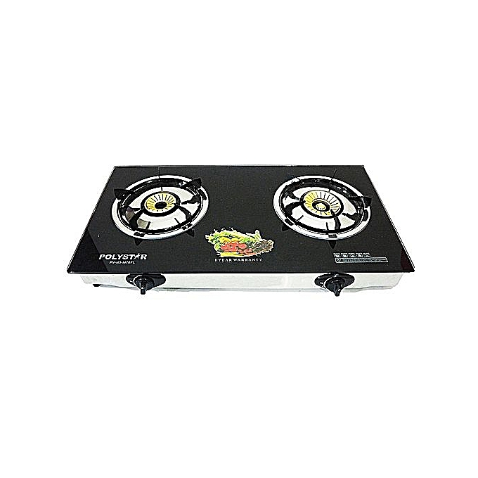 Polystar 2 Burner Table Top Gas Cooker With Tempered Glass TOP