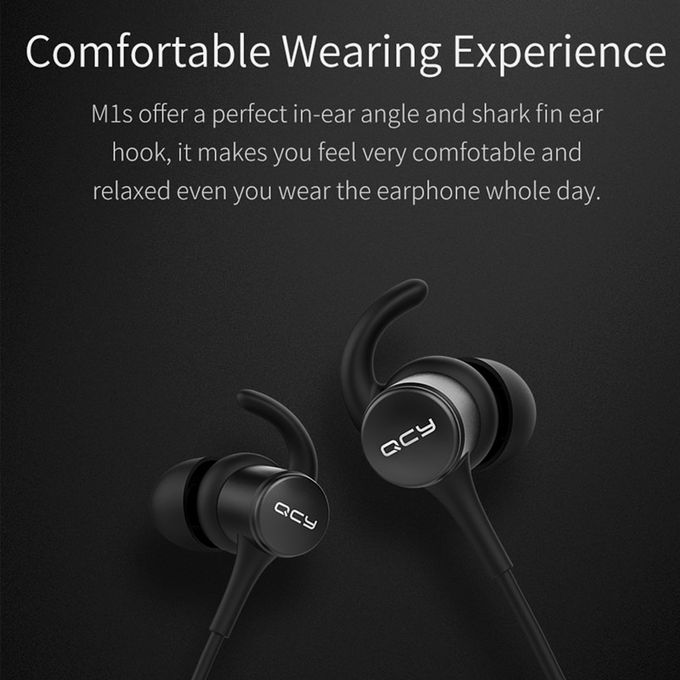 Qcy QCY M1S Magnetic V4.2 Chip Bluetooth Headphone IPX5-rated Sweatproof Wireless Earphone Sport Ear Hooks Headset With Microphone(#Black) | Horezone