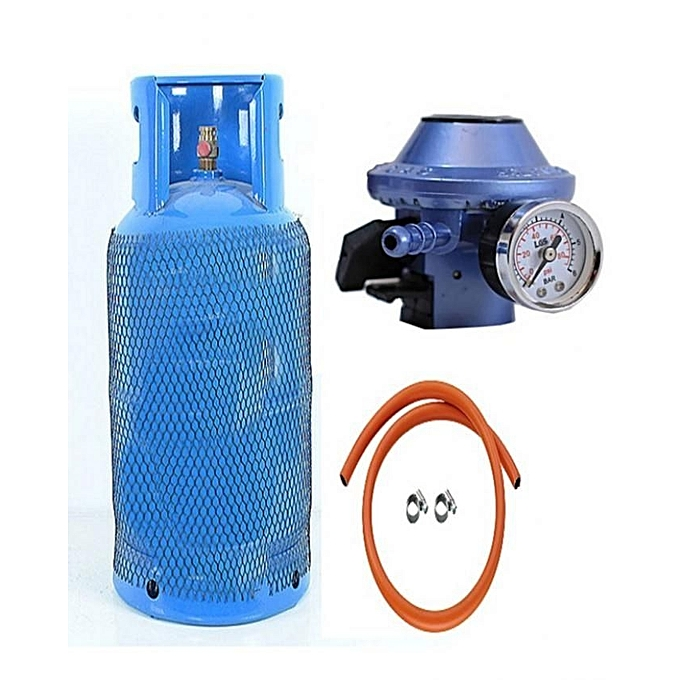 steel gas cylinder full 12.5kg with quality steel, blue hose metered regulator | Horezone