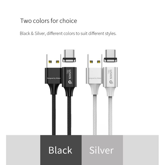 WSKEN X2 1M 3.28ft Magnetic Type-C Cable LED Display Black | Horezone